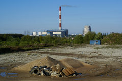 Industrial pollution, smokestack and rubbish. Industrial pollution, ecological problem, smokestack and rubbish Royalty Free Stock Photo