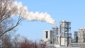 Industrial pollution tree branches. Factory smokes a tree branches. White smoke from the chimney on blue sky background. Ecology industry environment factory stock video footage