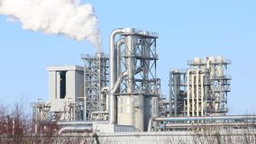 Industrial pollution white smoke stock video footage
