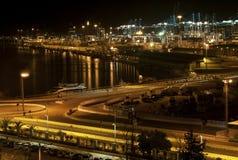 Industrial Port. Night Scene of an Illuminated Port royalty free stock image
