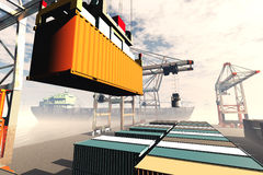 Industrial Port 3D render 1. Industrial Cargo Port 3D render Royalty Free Stock Image