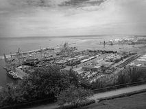 Industrial port Barcelona B&W Royalty Free Stock Photography