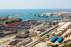 Industrial port of Barcelona in daytime Royalty Free Stock Photo