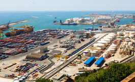 Industrial port of Barcelona in daytime Stock Photography