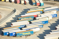 Industrial port of Barcelona shipping containers Stock Photos