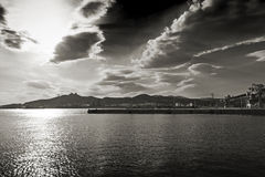 Industrial port. Black & white photo of an industrial port, Elefsis bay, Athens - Greece stock photos