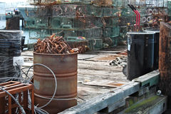 Industrial port compound. Rusting industrial equipment at a port compound Royalty Free Stock Image