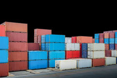 Industrial port with container yard isolated on black background. Royalty Free Stock Photos