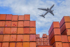 Industrial port with containers Royalty Free Stock Image