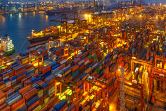 Industrial port with containers in the cargo Stock Photos