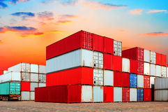 Industrial port with containers Stock Photography
