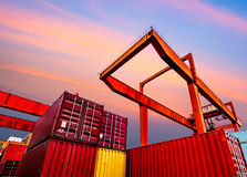 Industrial port with containers Royalty Free Stock Images