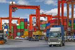 Industrial port with containers in China Stock Photos