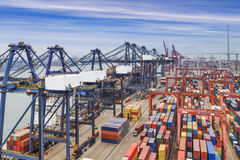 Industrial port with containers in the China Royalty Free Stock Image