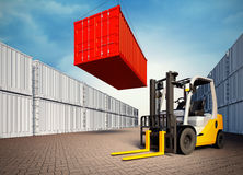 Industrial port with containers and forklift. 3d rendered illustration of an industrial port with containers. Loading container on 3d view generated background Royalty Free Stock Image