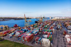 Industrial port with containers. Aerial view Stock Photos