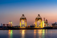 Industrial port with containers, Shipping cargo to harbor.  stock photos