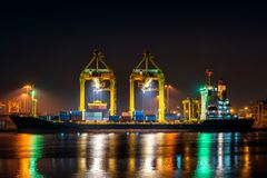 Industrial port with containers, Shipping cargo to harbor.  royalty free stock photo