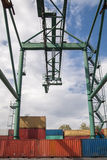 Industrial port with containers to transport. Cargo transportation and storage. Stock Images