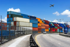 Industrial port with containers Stock Images