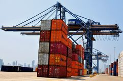 Industrial port, crane and containers Royalty Free Stock Images
