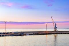 Industrial port crane on rails in Tallinn port Royalty Free Stock Photos