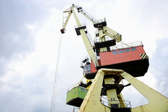 Industrial port cranes for containers Royalty Free Stock Images