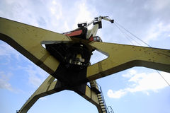 Industrial port cranes for containers Stock Images