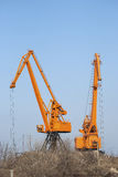 Industrial port cranes Stock Photo