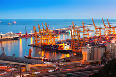 Industrial port de Barcelona in evening Stock Photography