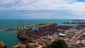 Industrial Port for freight transport and global business. Barcelona. Timelapse.Industrial Port for freight transport and global business. Barcelona stock video
