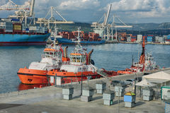 Industrial port of Koper in Slovenia Royalty Free Stock Image
