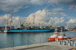Industrial port of Koper in Slovenia Royalty Free Stock Images