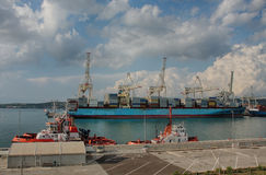 Industrial port of Koper in Slovenia Stock Images