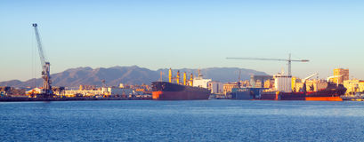 Industrial port of Malaga Stock Images