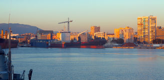 Industrial port of Malaga Stock Photography