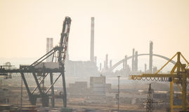 INDUSTRIAL PORT AT THE MORNING royalty free stock photo