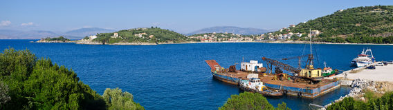 Industrial port near Kassiopi village - Corfu, Greece Stock Image