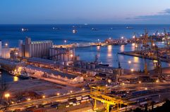 Industrial Port at night Royalty Free Stock Photography