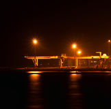 The industrial port at night. Under floodlights Royalty Free Stock Images