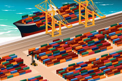 Industrial Port Scene. A vector illustration of industrial port scene Stock Images