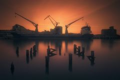 Industrial port with ship and cranes in Zorrozaurre stock photo