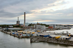 Industrial port of Stockholm. Overhead view of a harbor Royalty Free Stock Photography