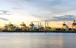 Industrial Port before sunset Royalty Free Stock Photography