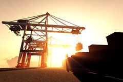 Industrial Port Sunset Sunrise 3D render 1 Stock Photos
