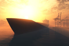 Industrial Port Sunset Sunrise 3D render 5 Stock Images