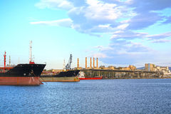 Industrial port. View of an industrial port, Elefsis bay, Athens - Greece stock photo