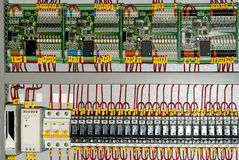 Industrial power case. Electricity distribution box with wires and circuit breakers royalty free stock photography