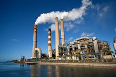 Industrial power plant. With smokestack Royalty Free Stock Image