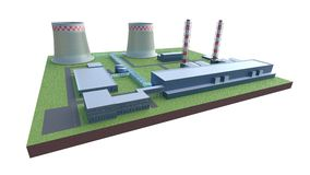 Industrial power plant building isolated 3d illustration. Industrial power plant building isolated 3d render Stock Photo